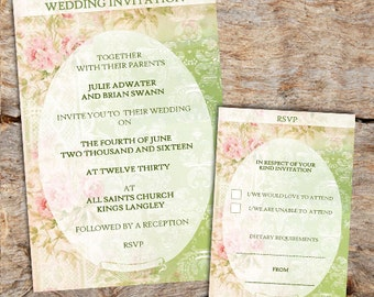 Pink & Green Wedding Invitations, RSVPs or Poems - x 10