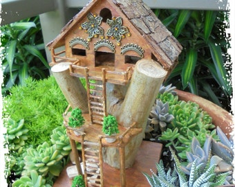 Fairy Garden Tree House Terrarium House Handmade OOAK