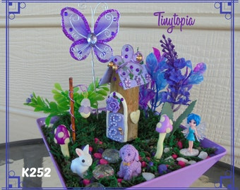 Purple Butterfly Fairy House Set~ Fairy Garden Kit~Includes Plants