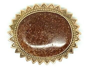 Antique Victorian Pin    Antique Victorian Brooch   Goldstone Brooch   Goldstone Pin   Gemstone Brooch   Gemstone Pin   Antique Pin