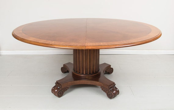 Renaissance Revival Solid Walnut 62 inch Round Dining Table with 1 Leaf circa 1875.