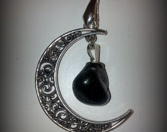 Moon and tourmaline pendant
