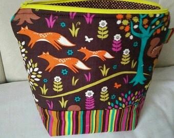 fox - zipper project bag