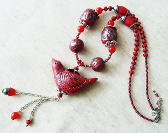 Necklace silver and red bird polymer clay beads fimo red and silver metal