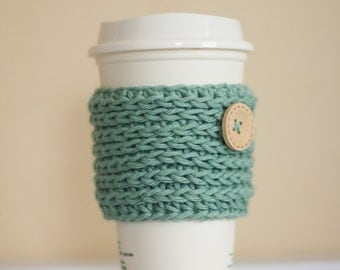 Mint coffee cozy with wooden button, pastel coffee cozy, coffee cup sleeve, coffee mug cozy, green, vegan gift, cotton coffee cozy