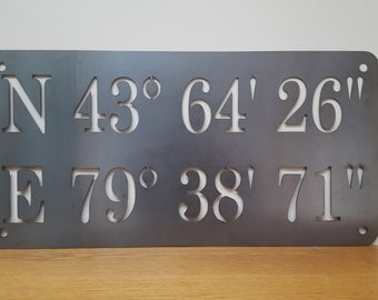 Custom metal GPS coordinates sign