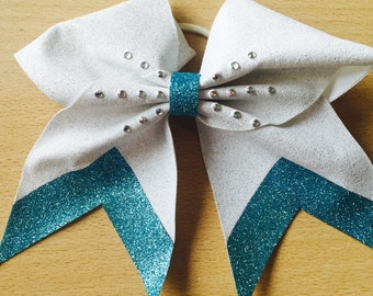 White and Blue Cheer Bow