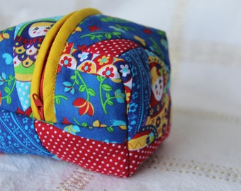 Quilted Patchwork Box/Cube Pouch