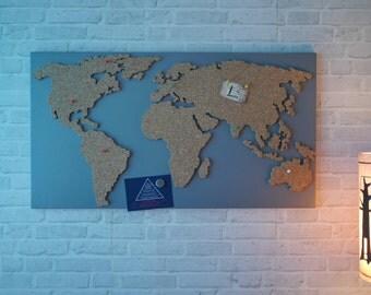 Magnetic Bulletin Board Cork as a world map