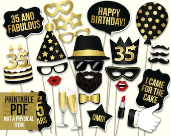 35th birthday photo booth props: printable PDF. Black and gold thirty fifth birthday party supplies. Instant download Mustache, lips glasses