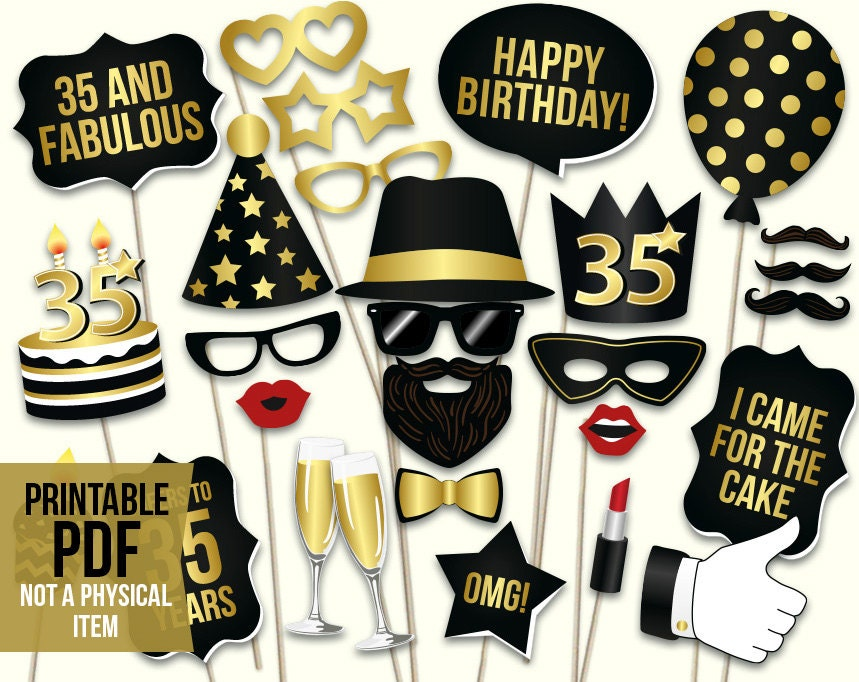 35th birthday photo booth props printable pdf black and gold for 35th birthday decoration ideas