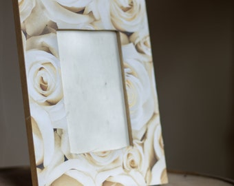 White Rose Wooden Picture Frame