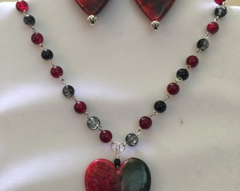 Red Hearts Bead Necklace and Earrings