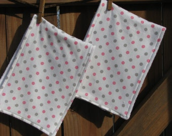 Pink and Gray Flannel and Terry Cloth Burp Cloth Set - 2 Piece