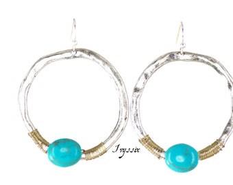 Boho Earrings, Turquoise Earrings, Silver and Turquoise hoop earrings.