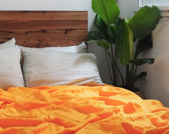 100% French flax linen fitted sheet - Tangerine
