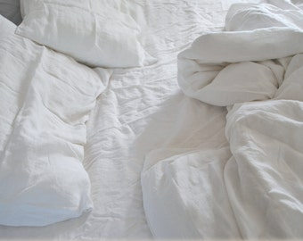 100% Pure Linen 4pc Duvet Set - Stone Washed White Bedding with Pillow Cases & Fitted Sheet