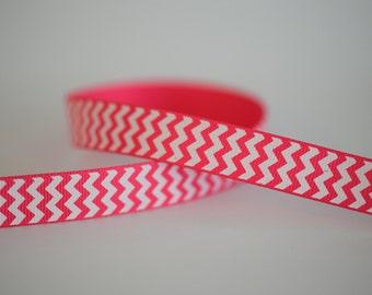 "5/8"" Hot Pink Chevron Grosgrain Ribbon"