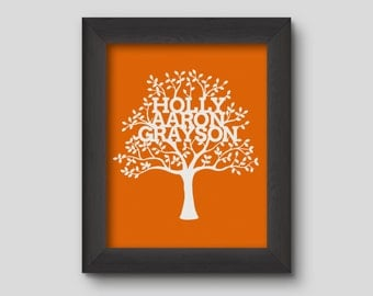 Framed Vinyl Family Tree with Personalised Names