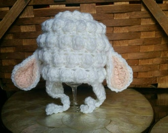Crochet Lamb baby hat photo shoot prop 0-3 month, ready to ship, baby boy hat, baby girl hat