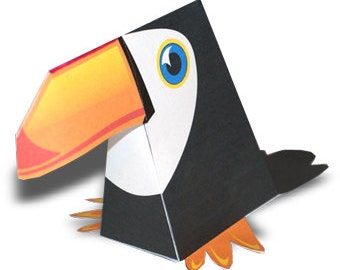 Paper toy Toucan for self-assembly. Printable A4. PDF. Instant Download.