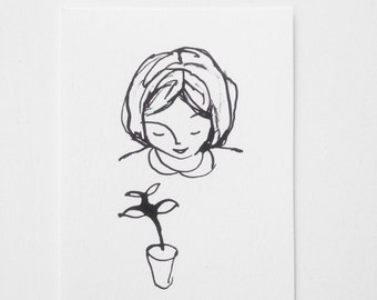 Original Ink Drawing - Little Grower