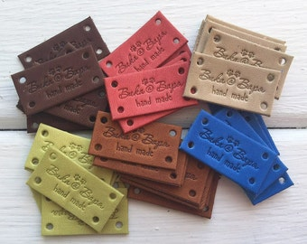 Leather Labels - Custom Leather Labels - Personalized Leather Labels - Handmade labels - Labels for Knitted Items - Labels for crochet items