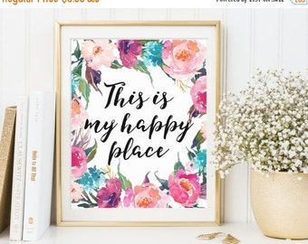 This Is My Happy Place Printable, Home Wall Art, Home Printables, Home Print, Home Quote, Happiness Wall Art, Housewarming Printable