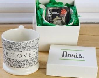 Beloved Half Pint Mug. English Creamware Mug. Gift Mugs With Sentiment & Meaning. Romantic Mug. Wedding Gift. Countryside Inspired Design.