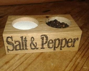 Oak salt and pepper pincher pot