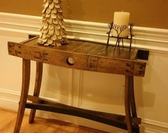 Bourbon barrel entry table