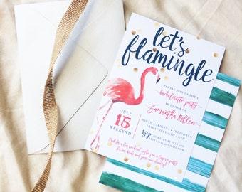 Let's Flamingle Bachelorette Invitation, Printable
