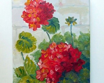 Red Geranium  Original oil painting No.04-05 ready to hang