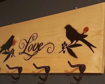 Coat rack, Handmade Love Birds Coat Rack, Wall coat rack, Hat rack, Rustic decor, Farmhouse decor