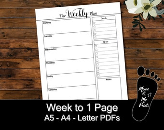 A5, A4, Letter - Planner Inserts - The Weekly Plan - Printable PDF - Week on 1 Page, Undated