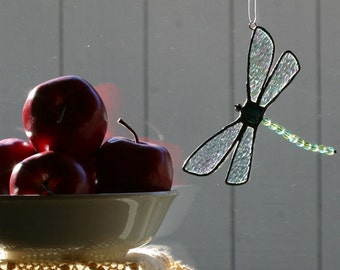 Stained Glass Dragonfly Suncatcher in Blue and Yellow