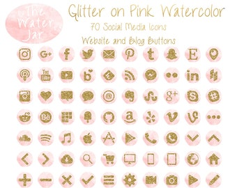 Social Media Graphics, Gold Glitter on Pink Watercolor, Pink and Gold Social Media Icons, Website Graphics, Blog Design