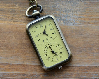 Pocket Watch Necklace Pendant Functional Double Timezone WORKING Clocks Glass Face and Antique Brass Casing Vintage Style Watch (BB026)