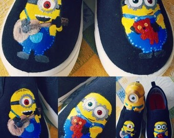 Custom Painted Shoes- Minions Bob and Stuart
