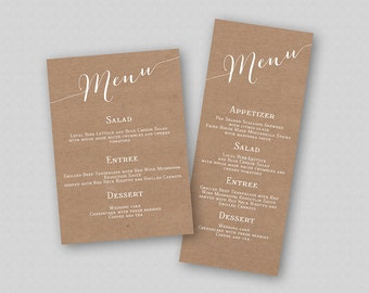 Rustic Wedding Menu Printable, Kraft Wedding Menu Card, Rustic Menu Template, Calligraphy Wedding Menu, Rustic Menu Printable, Caligraphy