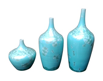 Turquoise Contemporary Handmade Crystal Vases - Set of Three