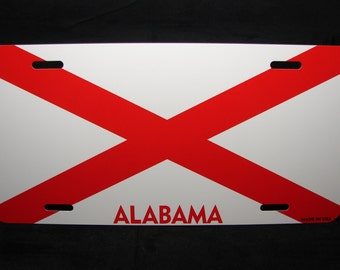 ALABAMA STATE FLAG Metal Novelty License Plate Tag For Cars... State Of Alabama...