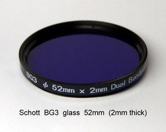 Schott BG3 52mm x 2mm thick UV Ultraviolet Bandpass Dual Band IR Camera Filter