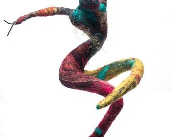 Bacchanalia - unique figurative felt art mixed media sculpture