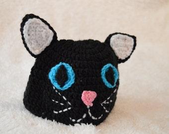 Cat Hat, Kitty Hat, Baby Hat, animal hat, cartoon hat, black hat, crochet hat, handmade hat, Birthday Gift,