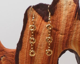 CHAINMAIL, GOLD, CHAINMAIL Earrings, gold plated, love knot, dangle, earrings