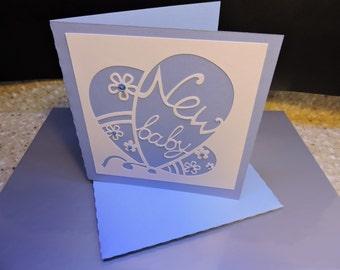 Handmade die cut Baby boy greeting card