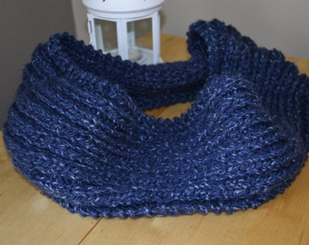 Knitted classic chunky infinity denim blue scarf, comfy and warm for winter and spring - cozy fashion for her - women winter wear