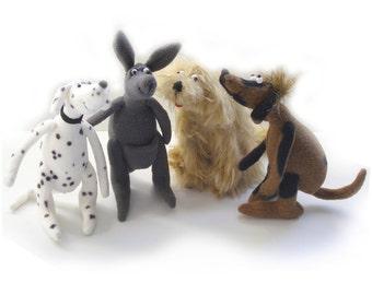 JM951E - Three Dogs and a Kangaroo PDF - Soft Animal Doll Making Pattern - Download