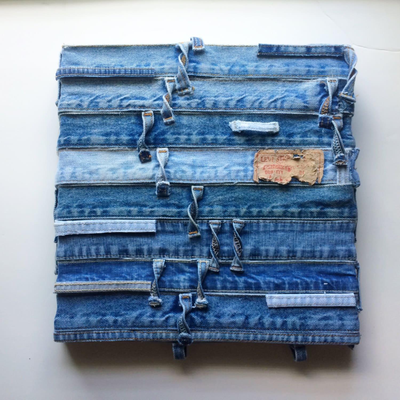 Denim Jean Textile Wall Art Blue Textile Wall Hanging